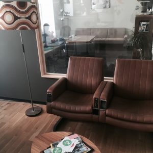Co-working space Stockwerk Wien Sofa braun